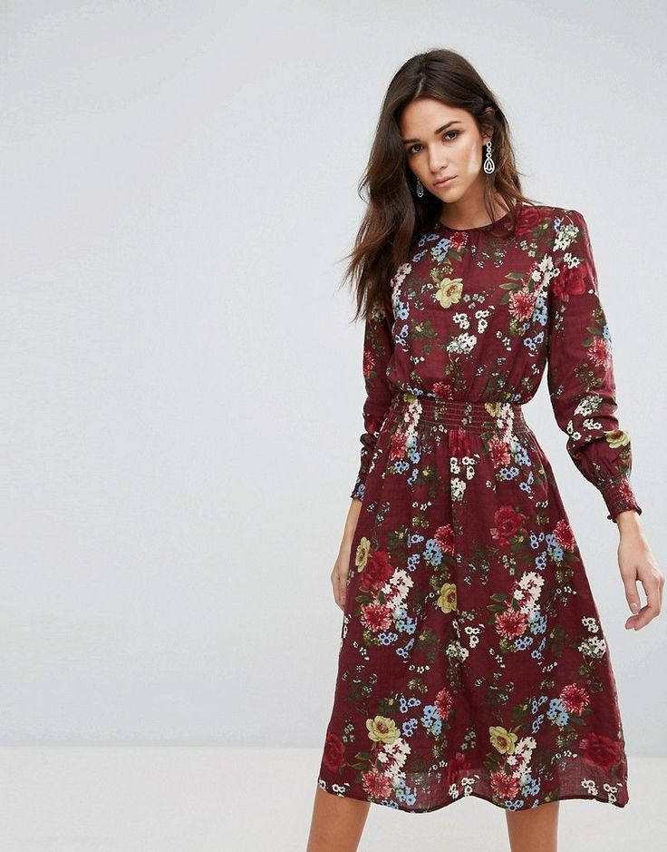 Ax Paris Floral Midi Dress With Ruched Waist - Red