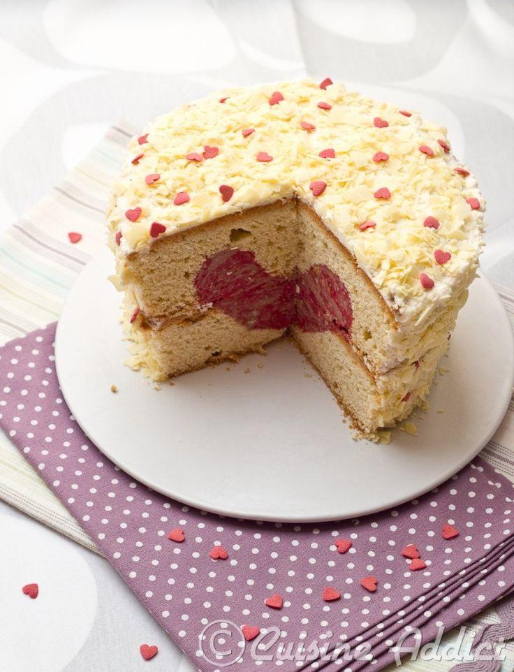 Gâteau vanille coeur & framboises pour la Saint Valentin {Tuto pour la …   – St Valentin ♥ Valentine's Day Inspirations