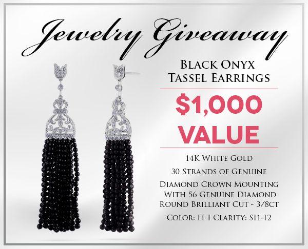 Enter to #Win a Genuine Black Onyx Bead & Diamond Tassel Earrings! @Holsted_Jeweler #jewelry #giveaway #holstedjewelers