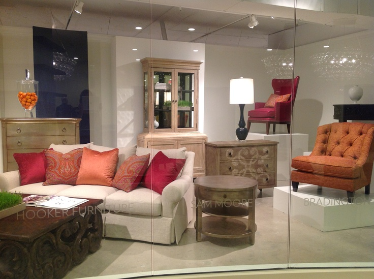 Check Out The Great Melange Pieces In The Hooker Furniture Window. Paired  With Upholstery From Bradington Young U0026 Sam Moore In Brights.