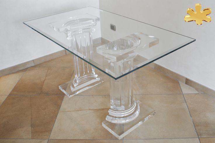 Acrylic furniture - Lucite Acrylic dining table - TAVOLI PRANZO IN PLEXIGLASS | Tavolo trasparente in plexiglass 08b.mod. MEZZO ROMANO   | Tavolo in plexiglass cm.140 x 80 h.75 - 2 basI MEZZO ROMANO fusto diam.cm.20 - piani cm.45 x 25 sp.cm.4 - h.tot.cm.75 - piano in vetro sp.mm.15 #lucite #design #homedecor #acrylic