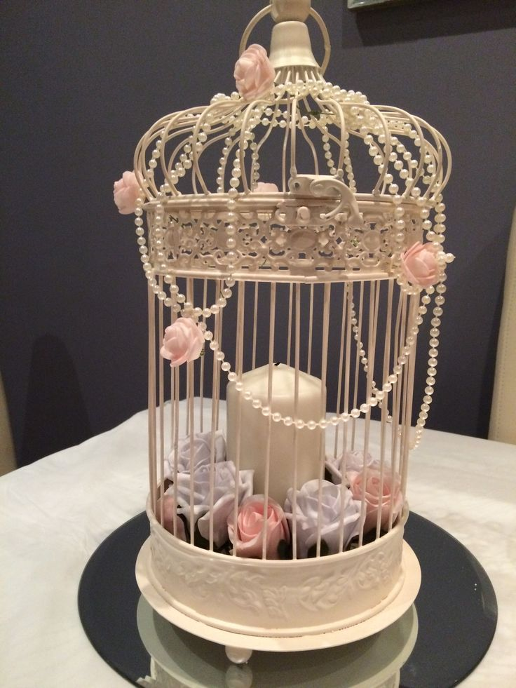 Pale Pink And Grey Vintage Bird Cage Wedding Centrepiece Decorated With Roses Pearls Candles Hire For Your Welsh At Affinity Event Decorators