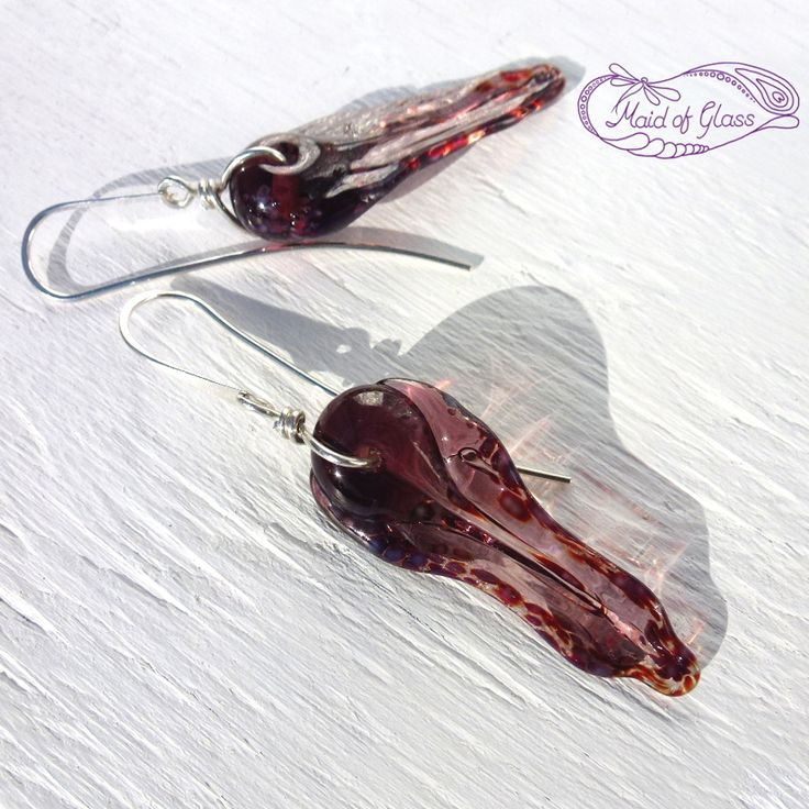 Lagenlook organic Frill Earrings in amethyst purple ~ handmade by www.MaidofGlass.co.uk