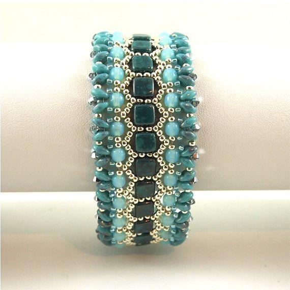 Perle main tissé bracelet en Turquoise, Sarcelle et argent