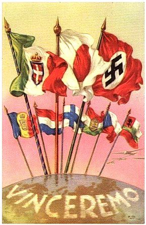 """Propaganda posters depicting the Italian, Japanese and German flags rising over the others. """"We will win"""" is written on the bottom."""