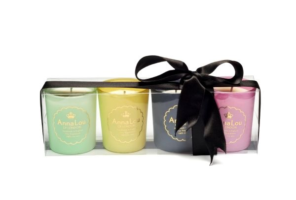 This candle gift set is the perfect gift. Beautifully Balancing, Beautifully Calming, Beautifully Uplifting, Beautifully RevitalisingAnna Lou of London candles are 100% natural and handmade in London in small batches using a soy wax from a sustainable source and only the finest essential oils. You will enjoy an approximate burn time of 24 Hours from this 170g votive candles.All the Anna Lou candles arrive beautifully packaged in a luxury branded gift box with a matching coloured ribbon.