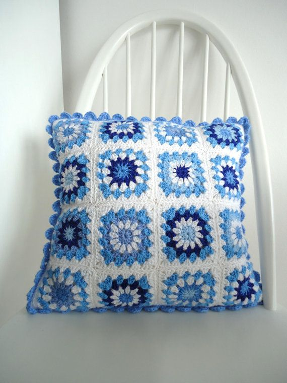 China blue crochet pillow cushion cover by dollydaydreaming