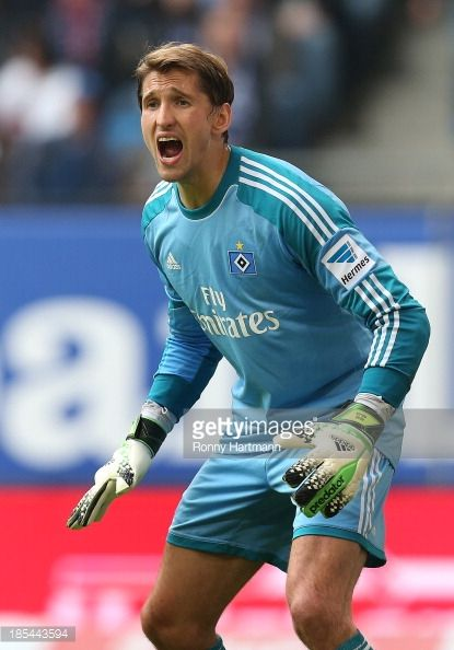 Goalkeeper Rene Adler of Hamburg reacts during the Bundesliga match between Hamburger SV and VfB Stuttgart at Imtech Arena on October 20 2013 in...