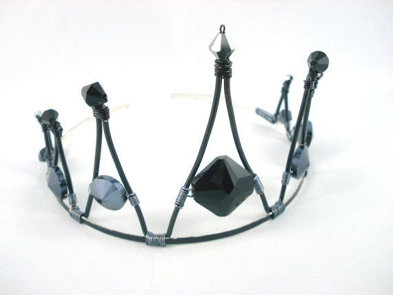 Ebony Black Pointed Wire Crystal Tiara by angelyques on Etsy, $60.00