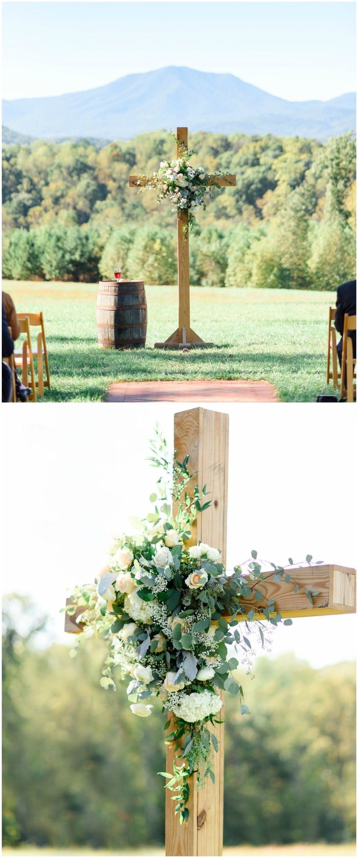 Religious outdoor wedding ceremony, wooden cross, cream florals, Virginia wedding, traditional // Alina Thomas Photography
