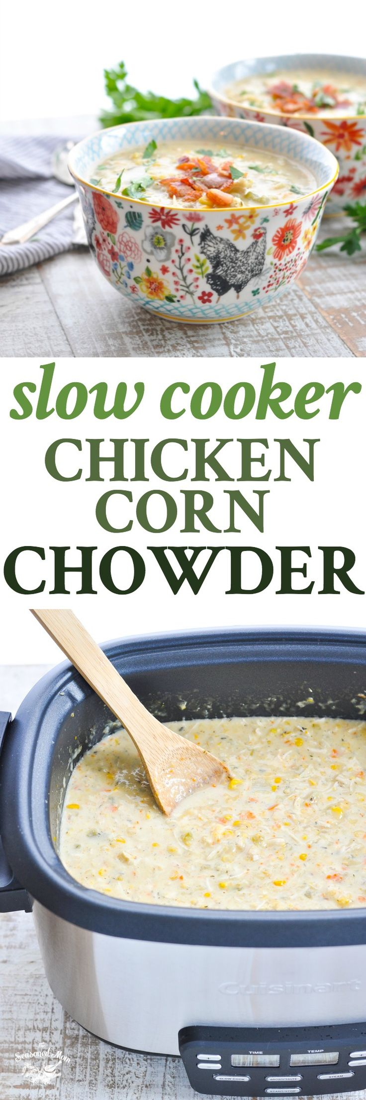 Long vertical image of bowl of corn chowder and slow cooker.