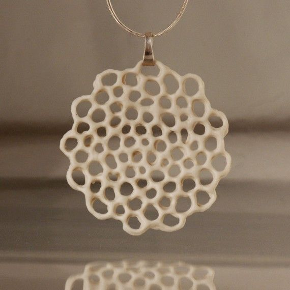 Porcelain and silver necklace  .Hanako. Floral pendant by wapa, $54.00