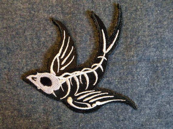 Swallow Skeleton (mirrored) iron on Patch