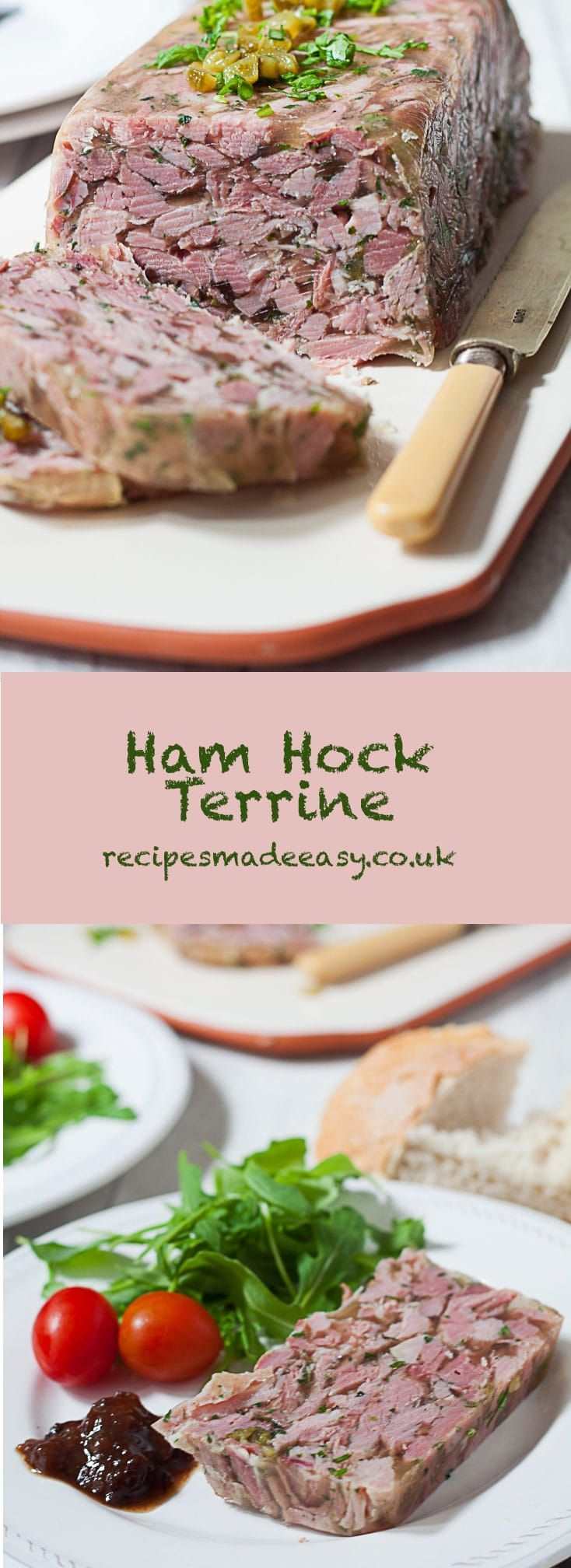 Ham Hock Terrine makes an elegant and tasty starter. Packed with flavour and very economical too.    #Starter #Appetiser #lunch #buffet   via @jacdotbee
