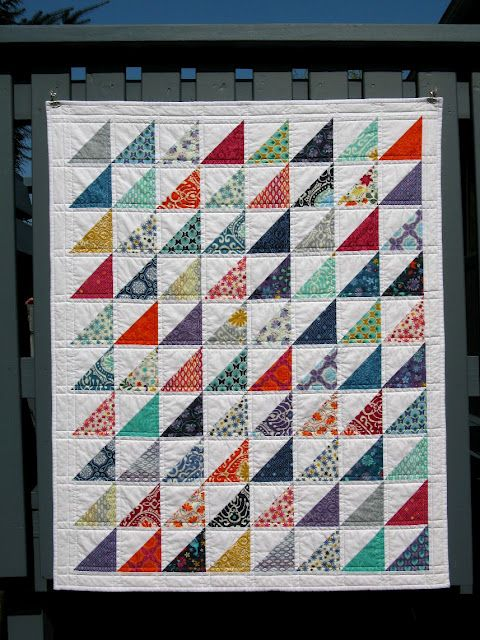 "Kate Spain ""Cuzco"" charm pack + solid white - HSTs, straight line quilting                                                                                                                                                                                 More"