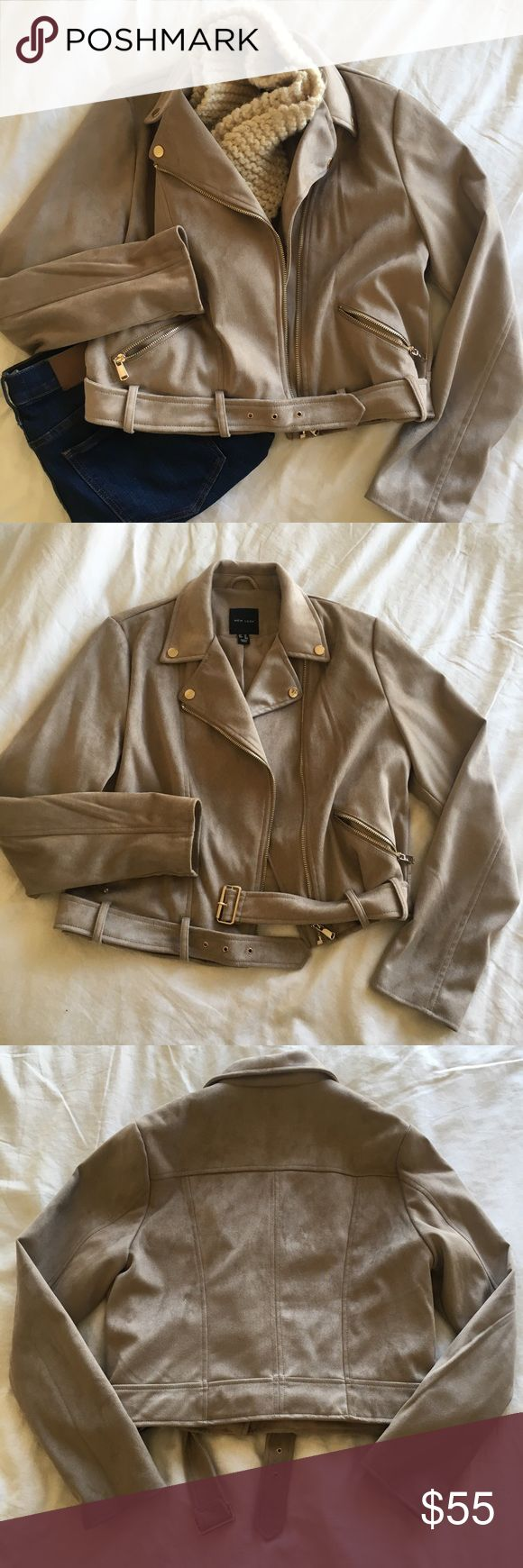 """Faux Suede Biker Jacket Super soft """"microsuede"""" jacket from ASOS. Worn only once! Light gold hardware. The buckled belt is removable if you don't want to wear it. Seriously an AMAZING stylish jacket for fall and winter! Asos Jackets & Coats"""