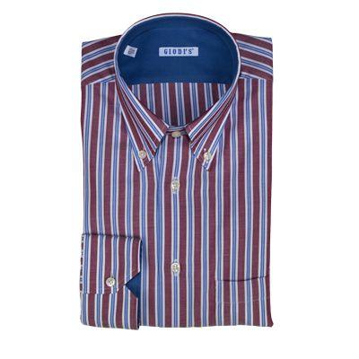 Camicia in cotone a righe verticali bordeaux, blu e bianche, asole e cucitura bottoni in cotone bianco. Sottopolso e sottocollo in contrasto. Vestibilità regolare. #hallofbrands #hob #camicia #shirt