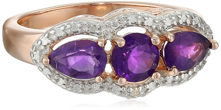 Rose Gold-Plated Sterling Silver Two-Tone African Amethyst Three-Stone Ring, Size 7 -- Want additional info? Click on the image.