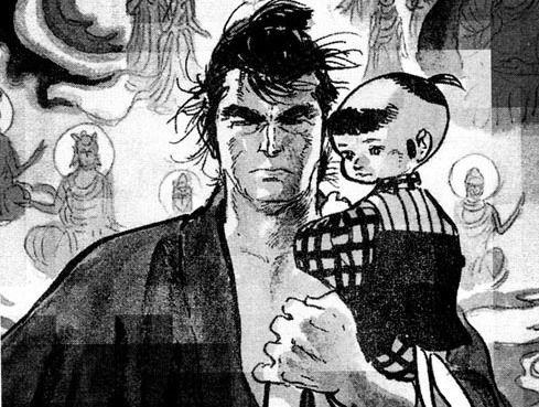 #漫画 『子連れ狼』は、小池一夫原作・小島剛夕画の日本の時代劇漫画(劇画)作品。1970年9月から1976年4月まで『漫画アクション』(双葉社)に連載された。 概要:  柳生一族の手により妻・薊を失い、遺された息子・大五郎と共にさすらいの旅に出た、水鴎流剣術の達人で胴太貫を携えた元・公儀介錯人拝一刀の物語。  原作・作画者とも本作で作家としての地位を不動のものにした。その後、若山富三郎主演による映画版や萬屋錦之介主演によるテレビドラマ版をはじめ、数多く映像作品も制作された。  1987年、日本の漫画としては最も早い段階に北米に輸出され、ダークホースコミックス社 (en:Dark Horse Comics) により『Lone Wolf and Cub』として英語版が出版され、日本を代表する漫画として高い評価を受けている(なお表紙絵は『子連れ狼』の大ファンであるフランク・ミラーが担当)。単行本の部数は日本国内830万部、全世界1180万部以上を記録した。  後に、大五郎を主人公にした続編『新・子連れ狼』や『そして - 子連れ狼…