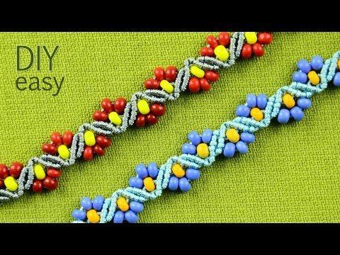 DIY ZigZag Flower Bracelets with Beads - Easy Tutorial - YouTube