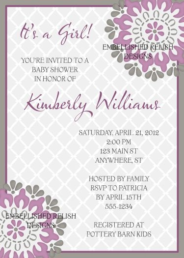83 best baby showers by kimbellished images on pinterest baby purple dahlia baby shower invitations filmwisefo
