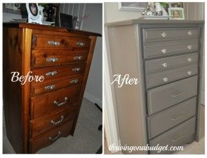 Bedroom Furniture Redo –Country Style Chest of Drawers, or Chester Drawers, Made Modern with paint and new knobs