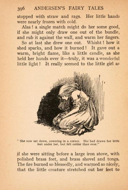 """Illustration from """"The Little Match Girl"""" in """"Fairy Tales of Hans Christian Andersen"""" illustrated by Helen Stratton. Published around 1908."""