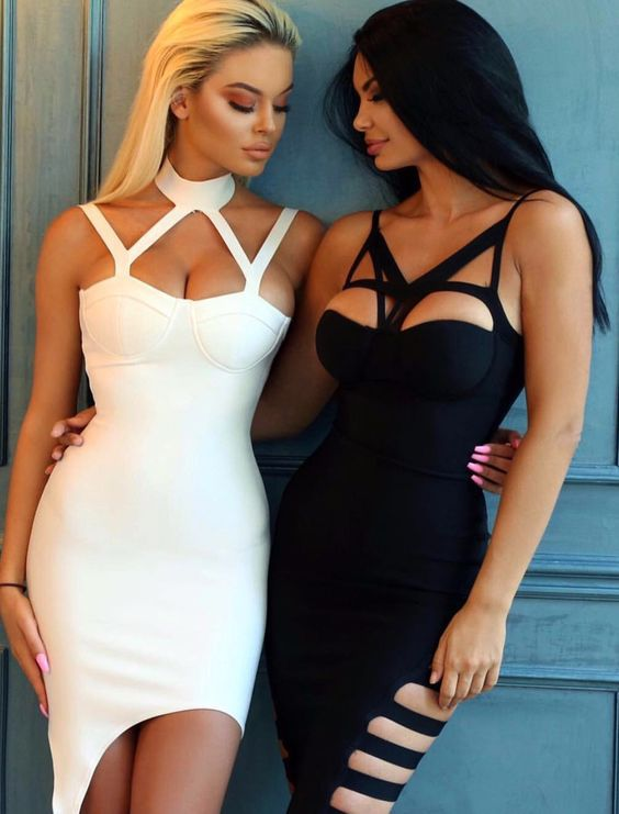$99.99 Sweetheart Sponge Cups Hollow out Bust Bandage Dress