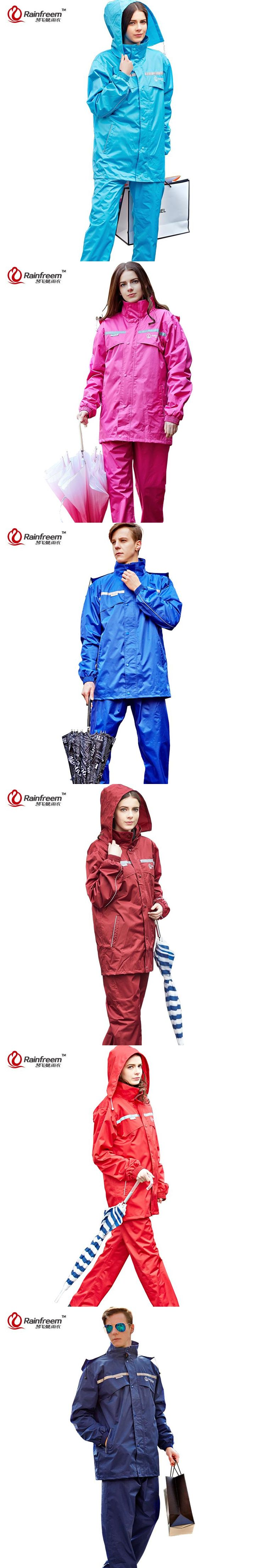 Rainfreem Impermeable Raincoat Women/Men Hood Rain Poncho Waterproof Rain Jacket Pants Suit Rainwear Men Motorcycle Rain Gear