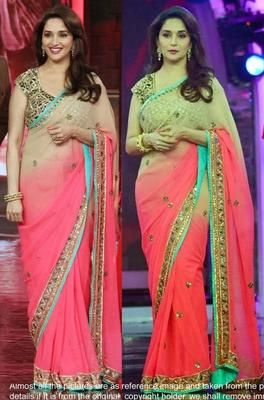 Ved Deal's Bollywood Replica Madhuri Dixit Heavy Pink Designer Saree Bollywood Sarees Online on Shimply.com