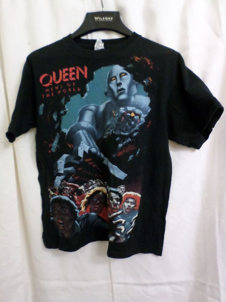 B-1065 Queen News of the World Tee T Shirt RETRO Black Classic Rock Band Size M #Anvil #GraphicTee