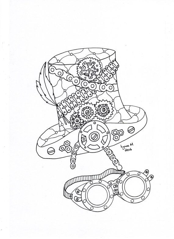 Steampunk Hat and Goggles by ColourItByLynneMcGee on Etsy