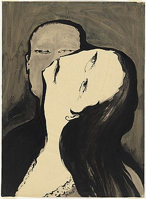 'Lovers [II]' by Joy HESTER, 1956. Hester was married to Albert Tucker for a time in the 1940s and a good friend of Sunday Reed's at Heide. She left Tucker and their son, Sweeney, and took up with artist Gray Smith around the same time as she was diagnosed with Hodgkins disease. Tucker left for Europe, and Sweeney, left in the possession of the Reeds, was later adopted by them. Tragically, Hester died in 1960 after years of struggle and ill-health at the age of 40. www.melbournemodernist.com