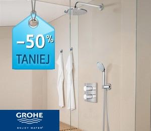 Grohe Grohtherm 3000 Cosmopolitan  kompletny zestaw prysznicowy/2349zł.  Nowoczesny, minimalistyczny design i wielokrotnie nagradzana technologia gwarantują relaksującą kąpiel.Prosty design, oparty na estetyce wytłoczonych cylindrów w doskonałych proporcjach stwarzających wrażenie harmonii i równowagi, został zaakcentowany luksusowym chromowanym wykończeniem GROHE StarLight® odpornym na zabrudzenia i matowienie.  Przycisk EcoButton na rączce umożliwia zmniejszenie zużycia wody o 50%.