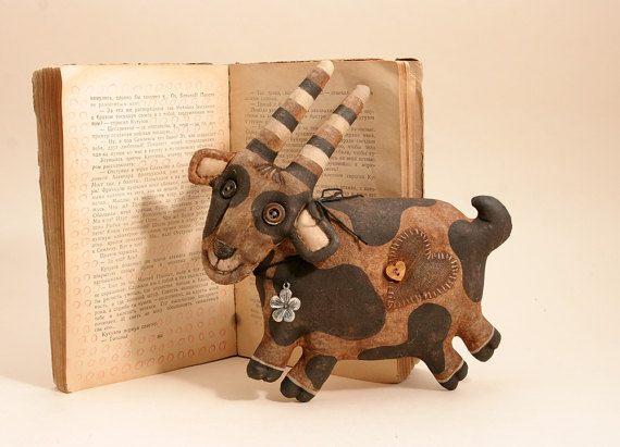 Козочки народного искусства примитивные куклы дачные украшения украшения стены животные фермы текстильных игрушек.