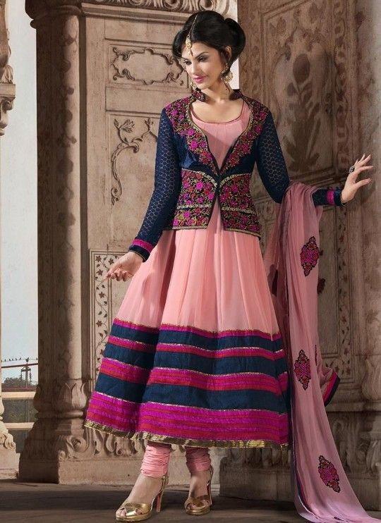 Awesome anarkali suits with jackets online shopping