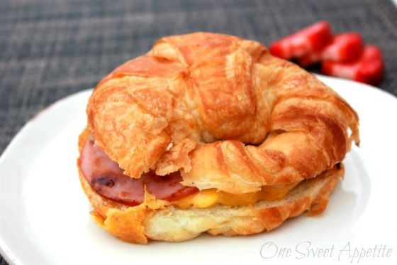 Breakfast Sandwiches Ham And Cheese And Croissant On