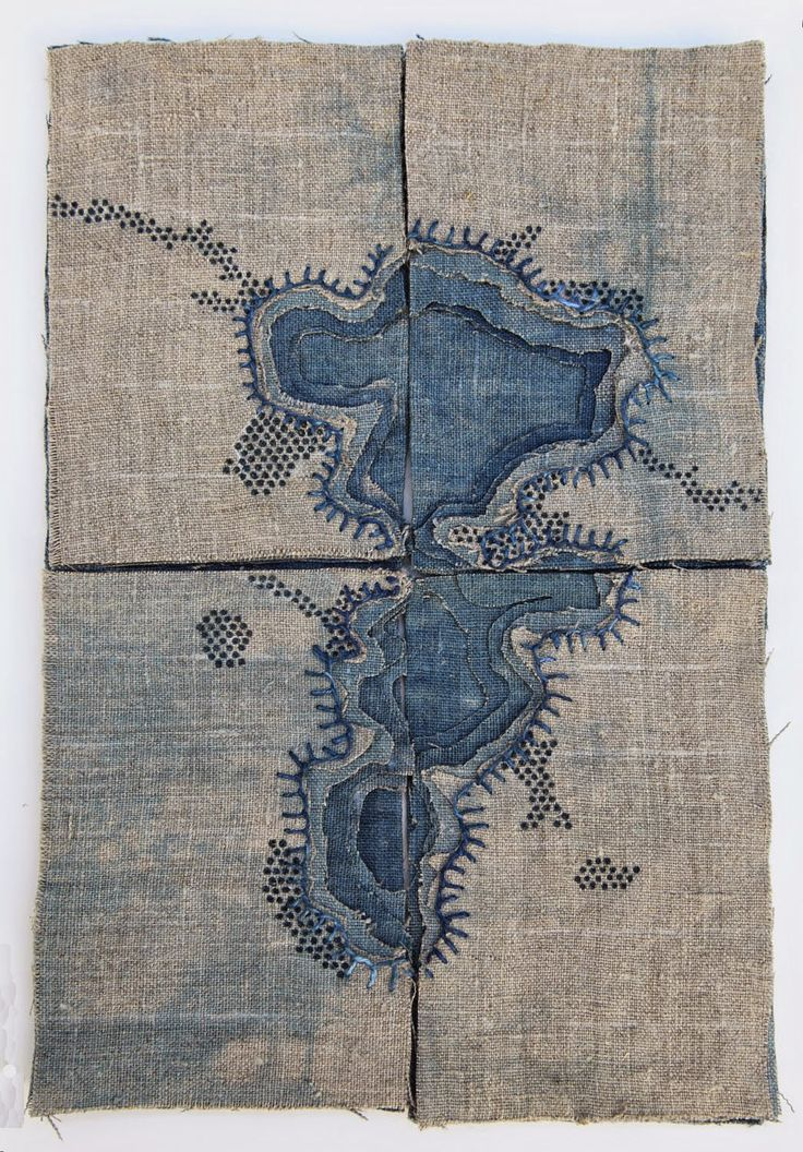 "K A T H R Y N C L A R K Ogallala Aquifer Depletion, 2014. Four 4"" x 6"" indigo dyed linen textiles with embroidery and ink."
