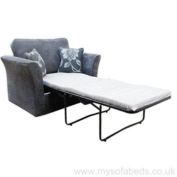 Contemporary chair bed with scatter cushions. Available in a huge choice of fabrics. Free UK mainland delivery.