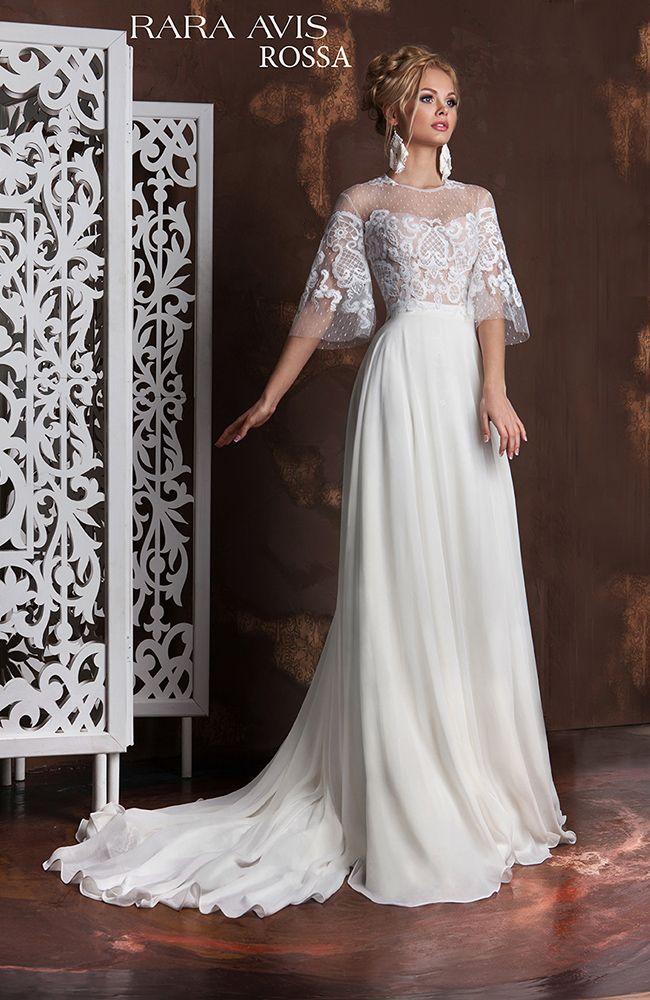 Lace vintage wedding dress 'Rossa' with lace sleeves and lace back. Vanilla Sky Collection from Rara Avis designer.