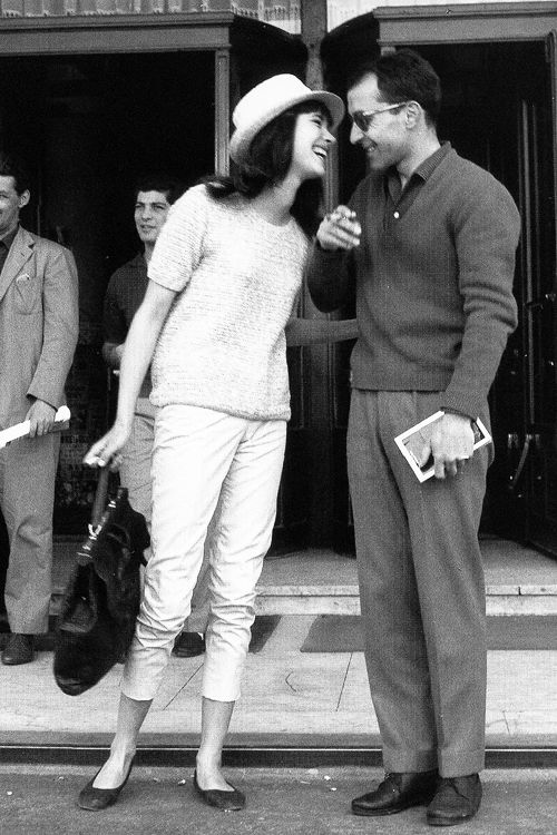 Anna Karina and Jean-Luc Godard outside hotel Martinez in Cannes, photographed by Edward Quinn, 1960.