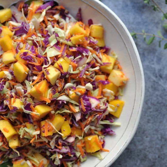 Raw Mango and Cabbage Slaw will boost your immune system and get rid of inflammation in the body. And the dressing is to die for!