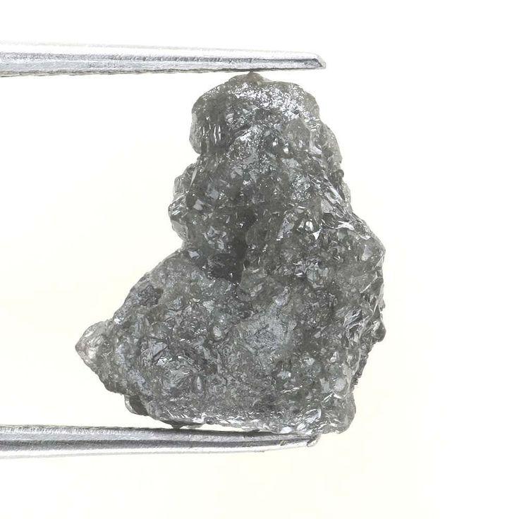 3.58 CT BIG NATURAL REAL  Uncut SHAPE GRayish ROUGH DIAMOND