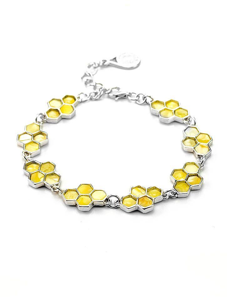 From Russia. A Baltic butterscotch amber honeycomb design bracelet. фото Браслет «Винни Пух» из серебра 925 пробы и натурального янтаря