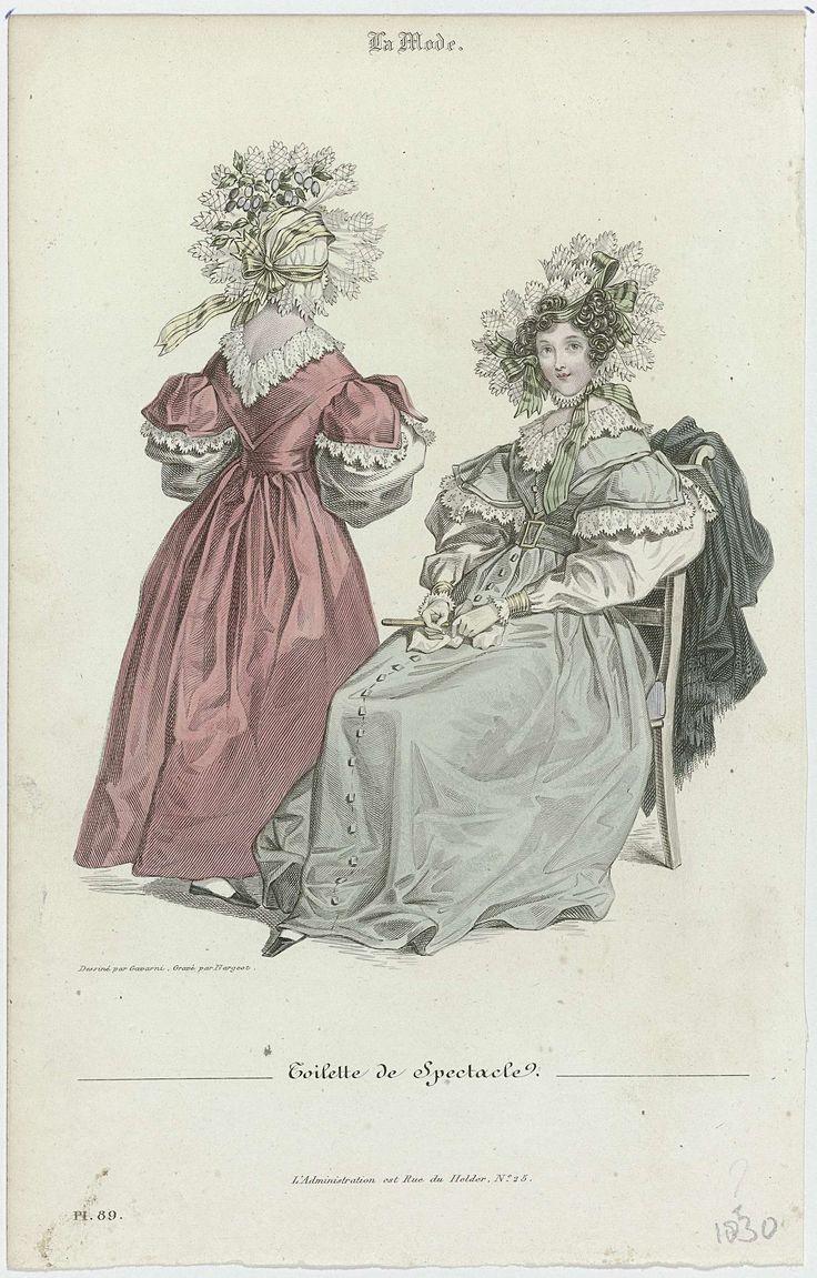 Jean Denis Nargeot | La Mode, 1830, Pl. 89 : Toilette de Spectacle, Jean Denis Nargeot, 1830 | 'Toilette de Spectacle'. Japon met schapenboutmouwen. Accessoires: muts met gestreept lint, ceintuur met gesp, handschoenen, waaier, zakdoek, schoenen met vierkante neuzen. Sjaal afgezet met franjes. Prent uit het modetijdschrift La Mode (1829-1855).