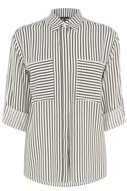 This monochrome shirt is constructed from a lightweight woven fabric and features a peak collar, button-through front, short sleeves, two breast pocket and all-over stripe design. Length of top, from shoulder seam to hem, 62cm approx. Height of model shown: 5ft 10 inches/178cm. Model wears: UK size 10.Fabric: Main: 100.0% Viscose.Wash care: Machine WashProduct code: 02297875 £32.00 #WAREHOUSEWISHLIST