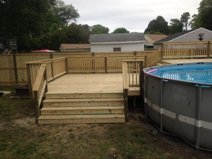 Bi Level Pool Deck 8 Foot Wide Steps On Bottom Deck