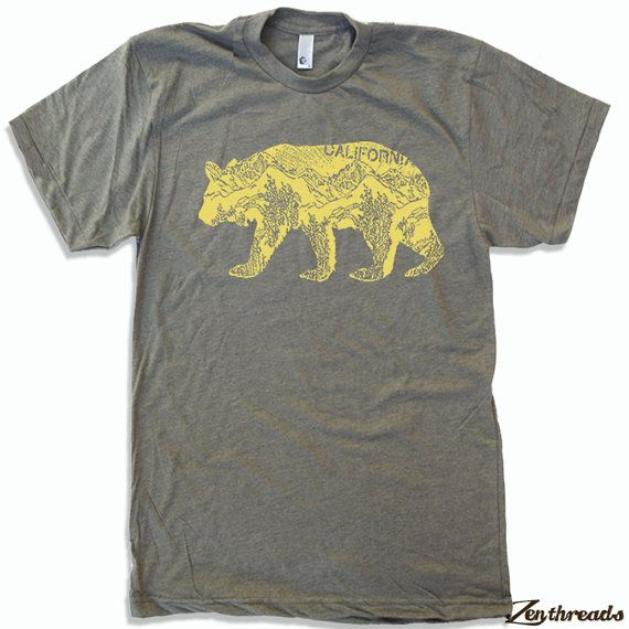 Abbigliamento americano Mens California BEAR T-Shirt S M L XL (16 opzioni di colore)