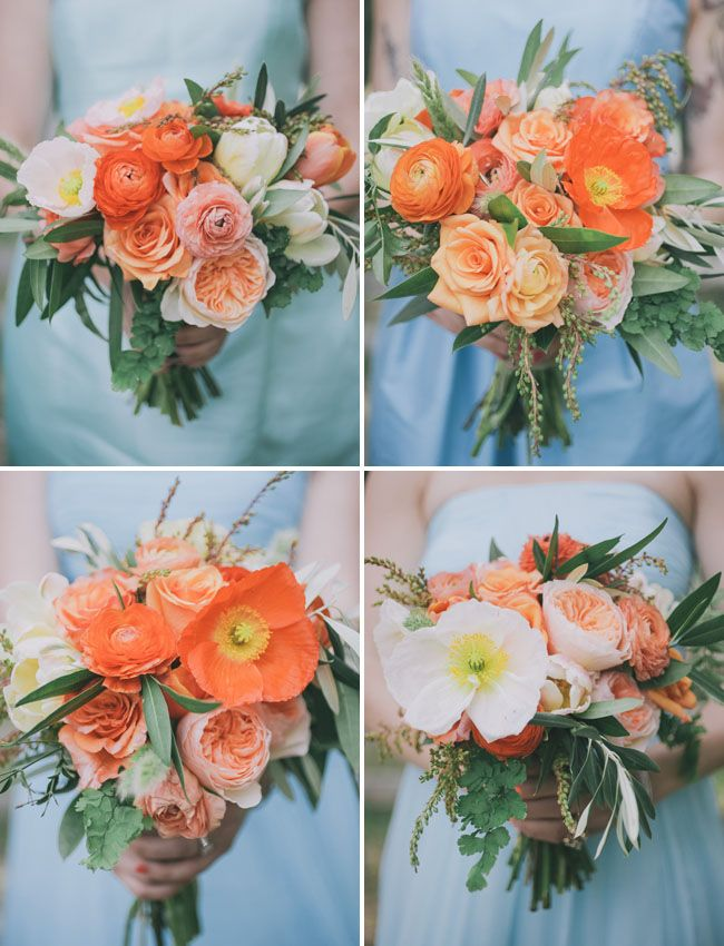 Smaller versions of the bridal bouquet made of Icelandic poppies (which vary in shades of orange, yellow, peach, pink and white), coraly pink spray roses, nagi foliage, white lisianthus, peach roses, silver dollar eucalyptus a hint of hot pink spray roses and ivory roses wrapped in a band of champagne ribbon with the stems showing.