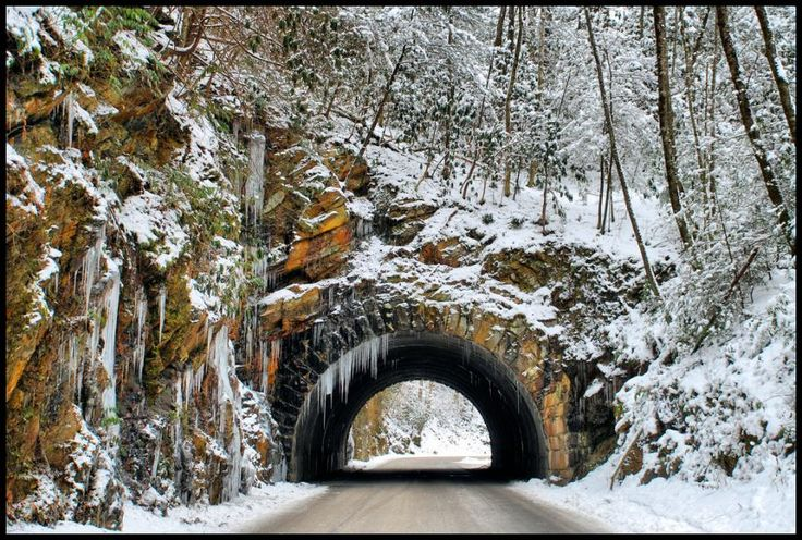 The tunnel to Cades Cove in the winter. #Smoky #Mountains #Hiking #Cades #Cove #National #Park #Smokies #Smokey #vacation